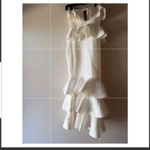 White layered scuba dress